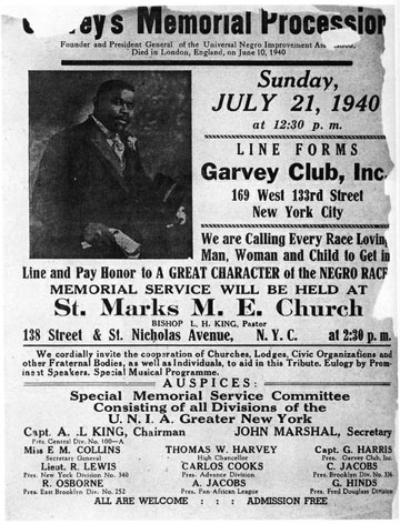 Poster for Marcus Garvey's memorial service