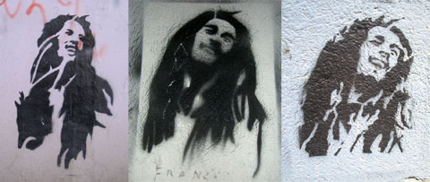 Graffiti portraits of Bob Marley