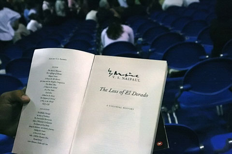 Copy of V.S. Naipaul's book The Loss of El Dorado; photo by Georgia Popplewell