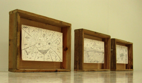 "Three drawings by Dion ""Sand"" Palmer"