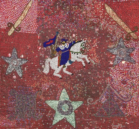 Detail of a Haitian vodou flag for Sen Jak and Danbala (mid twentieth century, artist unknown), from the collection of the Fowler Museum at UCLA